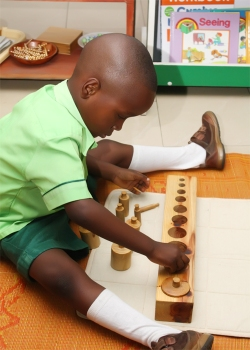 Knobbed Cylinders- child holds knobbes with dominant fingers.