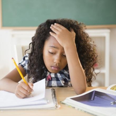distressed child writing